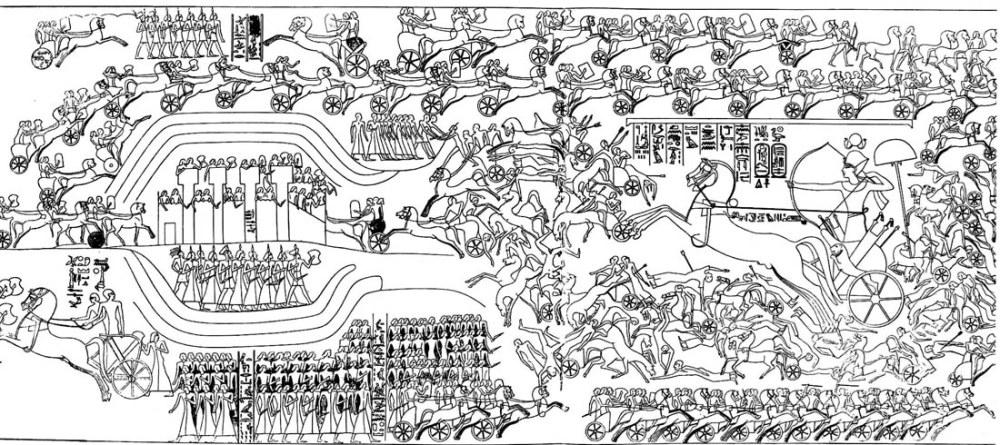 boj-kolesnits-narodov-morya-s-egiptyanami-egipetskij-relef
