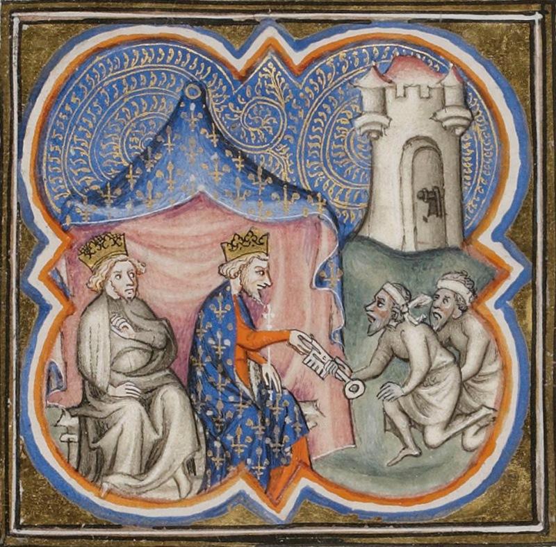 Richard III i Filipp II Avgust poluchayut klyuchi ot Akko. Vikipediya
